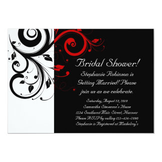 Black and White with Red Reverse Swirl Card