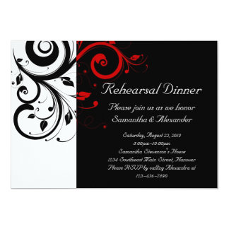 "Black and White with Red Reverse Swirl 5"" X 7"" Invitation Card"