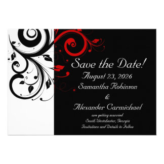 Black and White with Red Reverse Swirl Invite