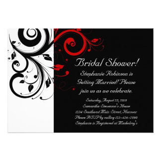 Black and White with Red Reverse Swirl Personalized Announcement