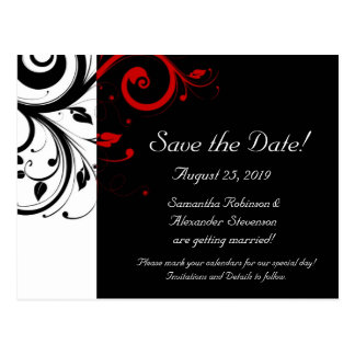 Black and White with Red Reverse Swirl Post Cards
