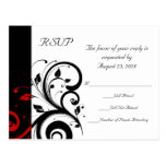 Black and White with Red Reverse Swirl Postcard