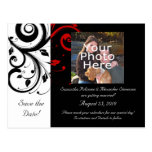 Black and White with Red Reverse Swirl Postcards