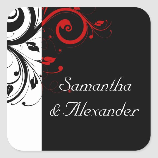 Black and White with Red Reverse Swirl Square Sticker