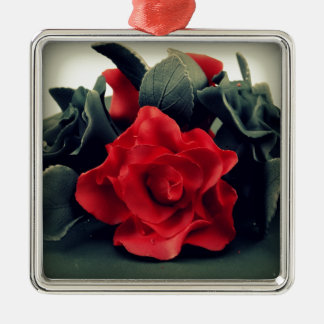 Black and White with Red Rose Metal Ornament