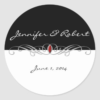 Black and White with Ruby Accent Envelope Seal Stickers