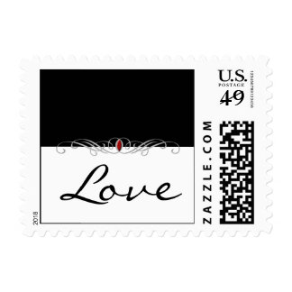 Black and White with Ruby Accent Postage