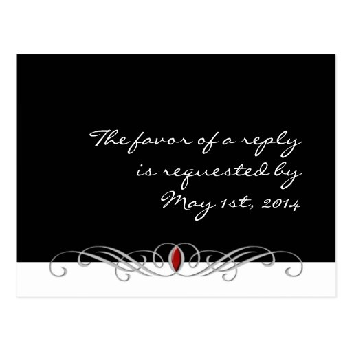 Black and White with Ruby Accent RSVP Postcard