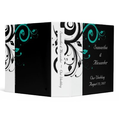Black and White with Teal Reverse Swirl Binders