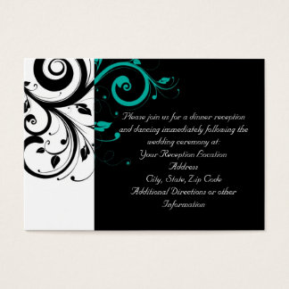 Black and White with Teal Reverse Swirl Business Card
