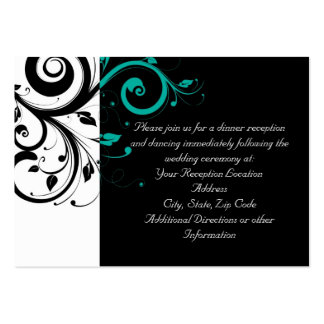 Black and White with Teal Reverse Swirl Business Cards