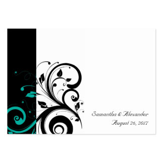 Black and White with Teal Reverse Swirl Large Business Cards (Pack Of 100)