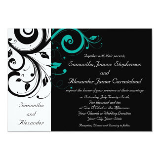 Black and White with Teal Reverse Swirl Card