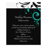 Black and White with Teal Reverse Swirl Personalized Flyer