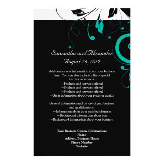 Black and White with Teal Reverse Swirl Flyers