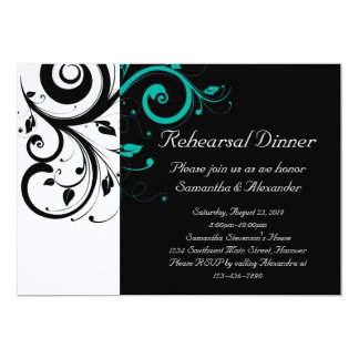 Black and White with Teal Reverse Swirl 5x7 Paper Invitation Card