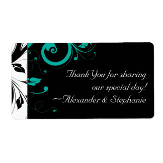 Black and White with Teal Reverse Swirl Shipping Label