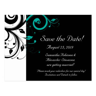 Black and White with Teal Reverse Swirl Post Card