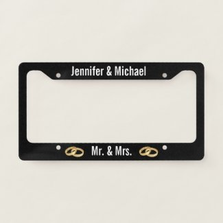 Black and White with Wedding Rings Married Couple License Plate Frame