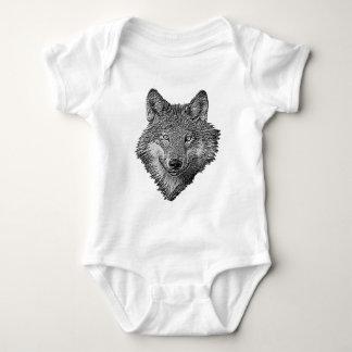 Black and White Wolf Baby Bodysuit