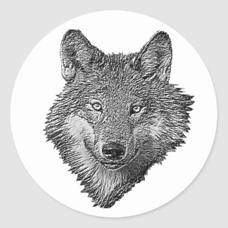 Black and White Wolf Classic Round Sticker