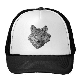 Black and White Wolf Mesh Hat