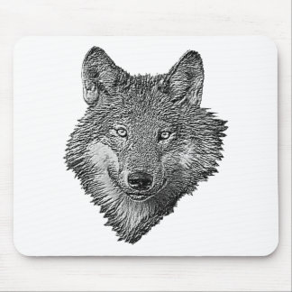 Black and White Wolf Mouse Pad