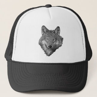 Black and White Wolf Trucker Hat