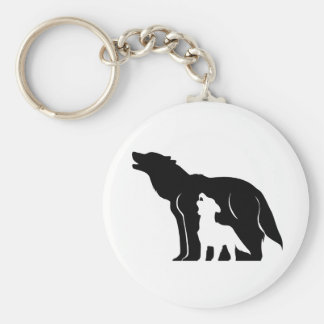 Black and White Wolves Keychain
