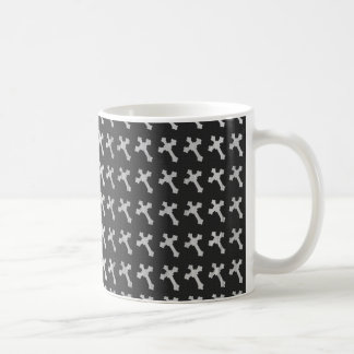Black and White Wood Cross Design Coffee Mug