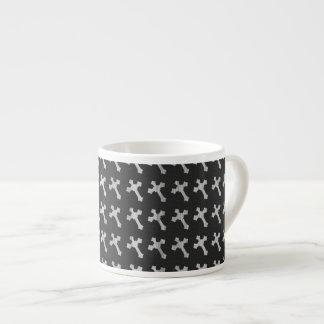 Black and White Wood Cross Design Espresso Cup