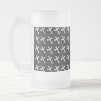 Black and White Wood Cross Design Frosted Glass Beer Mug