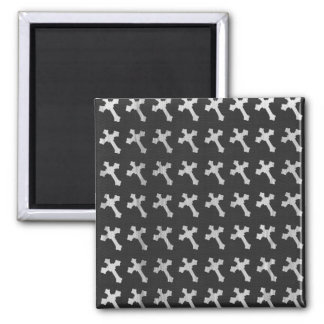 Black and White Wood Cross Design Refrigerator Magnet