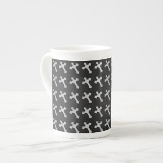 Black and White Wood Cross Design Tea Cup