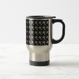 Black and White Wood Cross Design Travel Mug