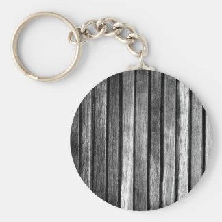 Black and White Wood Slats Basic Round Button Keychain