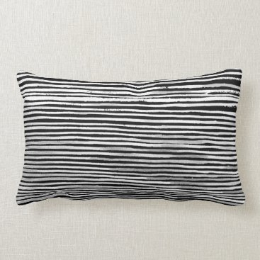 Beach Themed Black and White Wood Stripe Texture Pattern Pillow