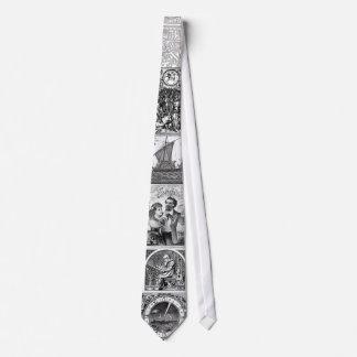 black and white woodcut tie