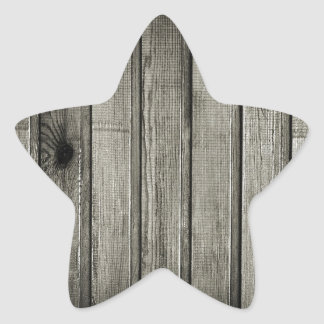 black and white wooden fence star sticker