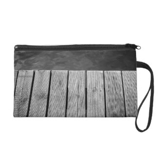 Black and White Wooden Jetty Closeup Wristlet Clutch