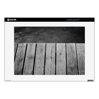 Black and White Wooden Jetty Closeup Skins For Laptops