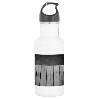 Black and White Wooden Jetty Closeup Stainless Steel Water Bottle