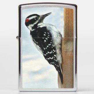 Black and White Woodpecker Bird Zippo Lighter