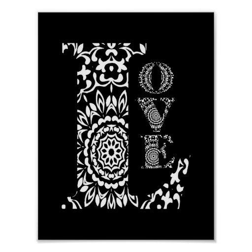 Black and White Word Art Lacy Patterned Love Poster | Zazzle