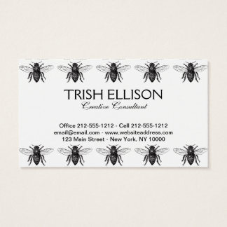 Black and White Worker Bee Vintage Business Card