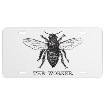 Professional Business Black and White Worker Bee Vintage License Plate