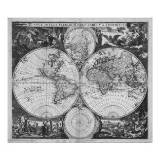 Black and white world map posters zazzle black and white world map 1685 poster gumiabroncs Image collections