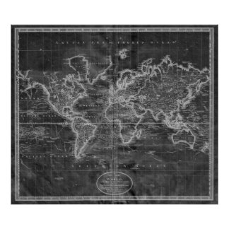Black and White World Map (1801) Inverse Poster