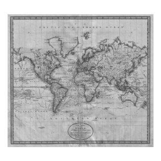 Black and White World Map (1801) Poster