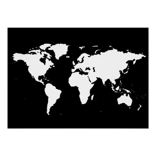 black and white world map poster zazzle. Black Bedroom Furniture Sets. Home Design Ideas